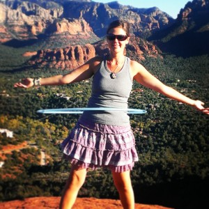 Taking the opportunity to explore hooping atop a mountain.