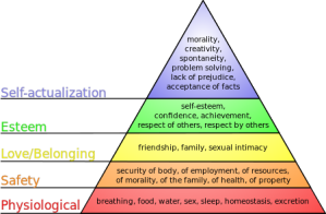 """Maslow's hierarchy of needs"" by J. Finkelstein - I created this work using Inkscape.. Licensed under Creative Commons Attribution-Share Alike 3.0 via Wikimedia Commons - http://commons.wikimedia.org/wiki/File:Maslow%27s_hierarchy_of_needs.svg#mediaviewer/File:Maslow%27s_hierarchy_of_needs.svg"